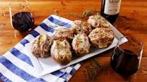 """<p>These potatoes are KILLER. If you want to make 'em a meal, go for big russets. If you'd like to serve them as hors d'oeuvres, choose a smaller potato.</p><p>Find the recipe from <a href=""""https://www.delish.com/uk/cooking/recipes/a28924490/french-onion-baked-potatoes-recipe/"""" rel=""""nofollow noopener"""" target=""""_blank"""" data-ylk=""""slk:Delish"""" class=""""link rapid-noclick-resp"""">Delish</a>.</p>"""