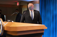 Secretary of State Mike Pompeo arrives for a media briefing, Tuesday, Nov. 10, 2020, at the State Department in Washington. (AP Photo/Jacquelyn Martin, Pool)