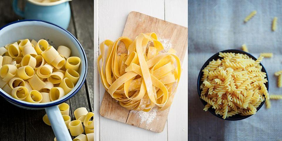 """<p>The world of pasta shapes is a crazy one. There are long pasta shapes, short pasta shapes, curly pasta shapes and <a href=""""https://www.delish.com/uk/cooking/recipes/a30907235/orecchiette-pasta-with-broccoli-rabe-recipe/"""" rel=""""nofollow noopener"""" target=""""_blank"""" data-ylk=""""slk:even ones that look like little ears"""" class=""""link rapid-noclick-resp"""">even ones that look like little ears </a>(mmmm, appetising...). So to help you understand the difference between <a href=""""https://www.delish.com/uk/cooking/recipes/a29482679/easy-shrimp-pasta-alfredo-recipe/"""" rel=""""nofollow noopener"""" target=""""_blank"""" data-ylk=""""slk:fettucine"""" class=""""link rapid-noclick-resp"""">fettucine</a> and bavette, and to get an idea of what sauces work best with the likes of <a href=""""https://www.delish.com/uk/cooking/recipes/a29734497/chicken-florentine-pasta-recipe/"""" rel=""""nofollow noopener"""" target=""""_blank"""" data-ylk=""""slk:penne"""" class=""""link rapid-noclick-resp"""">penne</a>, farfelle and strozzapreti (which means 'priest choker' in Italian, btw *gulp*), here's a handy guide. An A - Z of pasta shapes, if you will.</p><p>Plus, while you're here, why not check out <a href=""""https://www.delish.com/uk/cooking/recipes/g33432952/best-pasta-recipes/"""" rel=""""nofollow noopener"""" target=""""_blank"""" data-ylk=""""slk:our favourite pasta recipes."""" class=""""link rapid-noclick-resp"""">our favourite pasta recipes.</a></p>"""