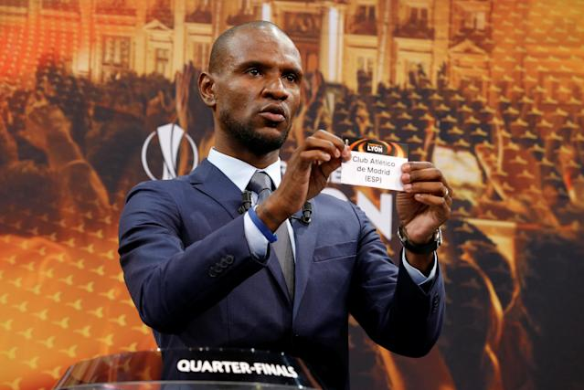 Soccer Football - Europa League Quarter-Final Draw - Nyon, Switzerland - March 16, 2018 Eric Abidal draws Atletico Madrid REUTERS/Pierre Albouy