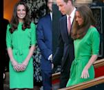 <p>Middleton wore this simple bright green Diane von Furstenberg dress to visit the British Consul-General's residence in L.A. in July 2011. She then repeated the look at the end of that very same month for Zara Phillips and Mike Tindall's pre-wedding party. </p>