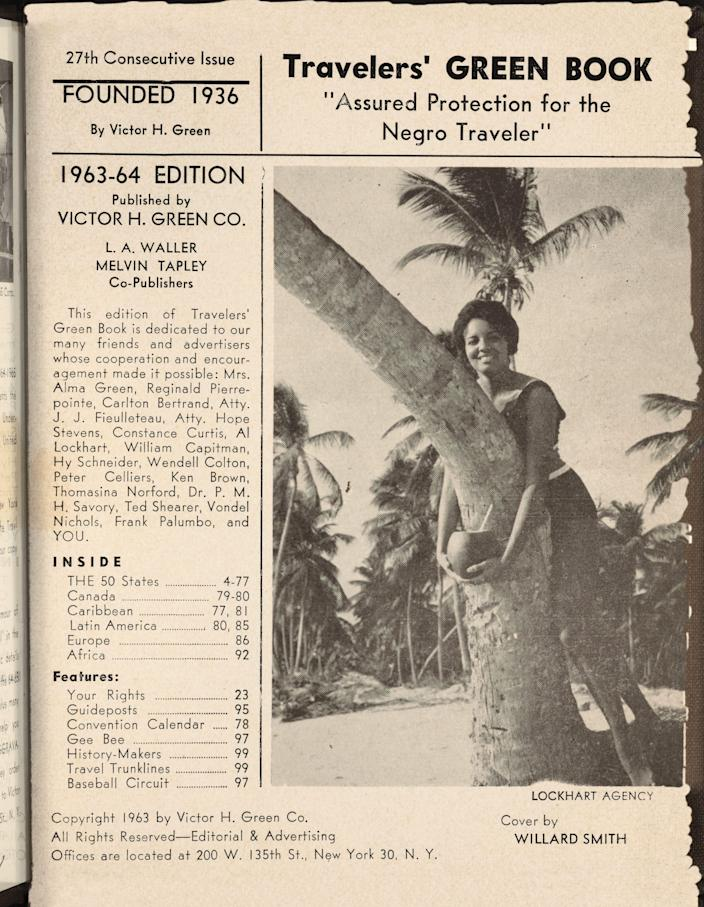 """A contents page from the 1963-64 issue of """"The Travelers' Green Book."""" Known also as """"The Negro Motorist Green Book,"""" the travel publication created by Victor Hugo Green in 1937 helped Black American travelers find places to eat, stay and get fuel on the road."""