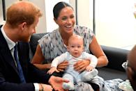 """<p>Archie got a grin out of his pops and mom Meghan <a href=""""https://people.com/royals/prince-harry-and-meghan-markle-take-archie-to-meet-archbishop-desmond-tutu-in-south-africa/"""" rel=""""nofollow noopener"""" target=""""_blank"""" data-ylk=""""slk:during a visit with Archbishop Desmond Tutu in South Africa"""" class=""""link rapid-noclick-resp"""">during a visit with Archbishop Desmond Tutu in South Africa</a>.</p>"""