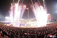 There were fireworks at the event, which featured 'paramilitary and public security forces', according to KCNA (AFP/STR)