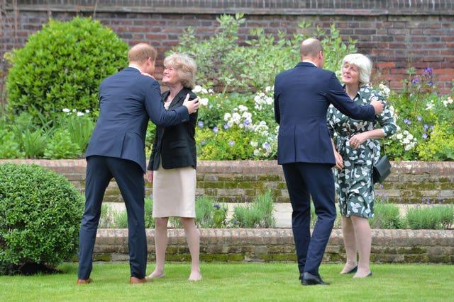 Harry and William greet Lady Sarah McCorquodale and Lady Jane Fellowes