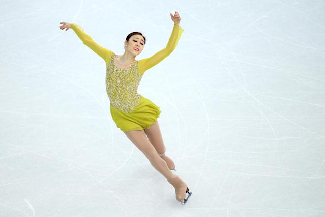 SOCHI, RUSSIA - FEBRUARY 19: Yuna Kim of South Korea competes in the Figure Skating Ladies' Short Program on day 12 of the Sochi 2014 Winter Olympics at Iceberg Skating Palace on February 19, 2014 in Sochi, Russia. (Photo by Ryan Pierse/Getty Images)