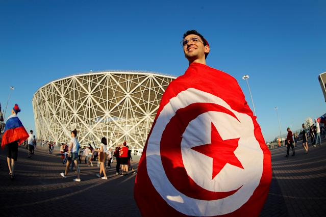 Soccer Football - World Cup - Group G - Tunisia vs England - Volgograd Arena, Volgograd, Russia - June 18, 2018 A Tunisia fan outside the stadium REUTERS/Jorge Silva TPX IMAGES OF THE DAY
