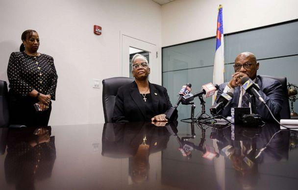 PHOTO: Rev. Dr. Michelle Rizer-Pool, pastor at the Bethel African Methodist Episcopal Church in Gainesville, Ga., speaks to reporters in Atlanta with Bishop Reginald Jackson, right, about the planned attack on her church, Nov. 19, 2019. (Dustin Chambers/The New York Times via Redux)