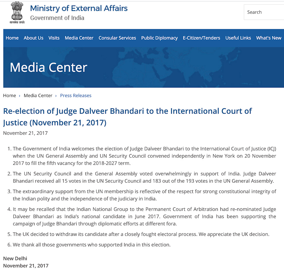 """<div class=""""paragraphs""""><p>The press release issued by MEA mentioned that Justice Bhandari was re-elected to the ICJ.</p></div>"""