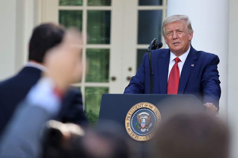 Trump uses Rose Garden as substitute rally venue in onslaught against Biden