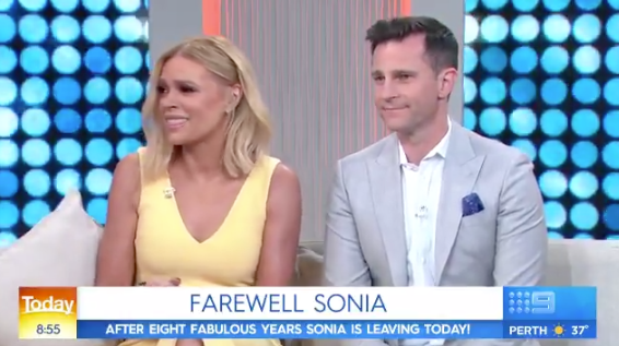 Outgoing host Sonia Kruger (with David Campbell) was given an emotional farewell on Today. Photo: Channel Nine.