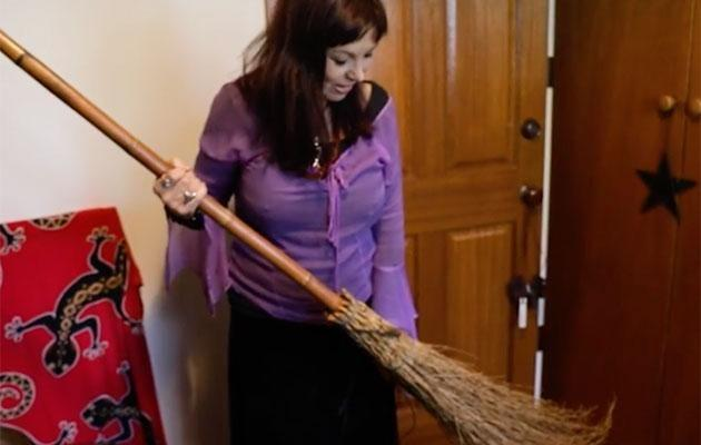 She has a broomstick but it's used to block to door during spells. Photo: Be