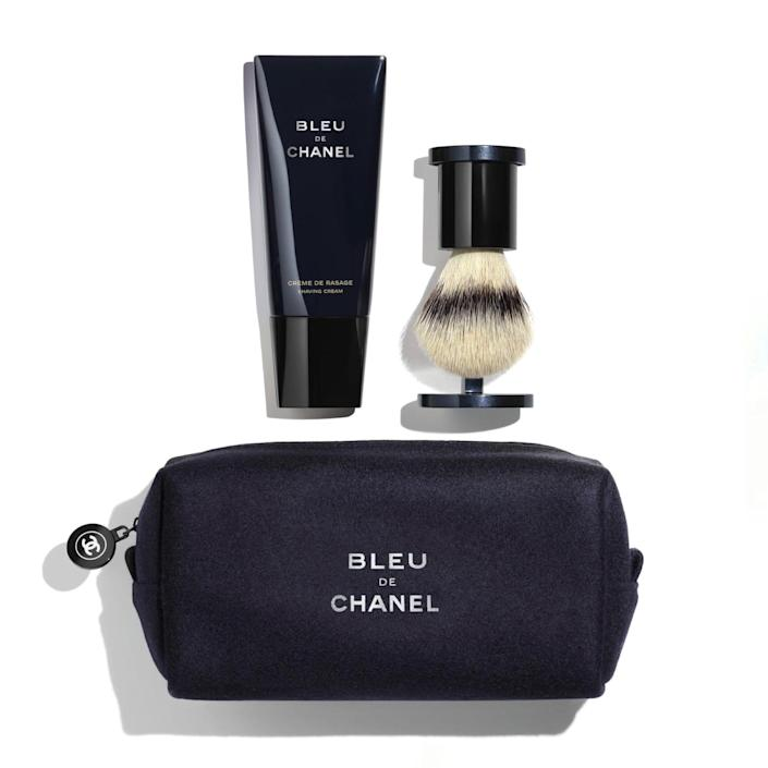 """The grooming kit to end all grooming kits, featuring a full-size shaving cream and magnetic brush. Merci, Chanel. $350, Chanel. <a href=""""https://www.chanel.com/us/fragrance/p/107957/bleu-de-chanel-shaving-kit/"""" rel=""""nofollow noopener"""" target=""""_blank"""" data-ylk=""""slk:Get it now!"""" class=""""link rapid-noclick-resp"""">Get it now!</a>"""