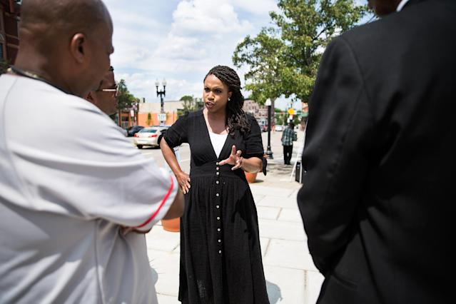 "<span class=""s1"">Boston City Council member Ayanna Pressley, who is running for Congress,  on July 28 near Boston. (Photo: Kayana Szymczak for Yahoo News)</span>"