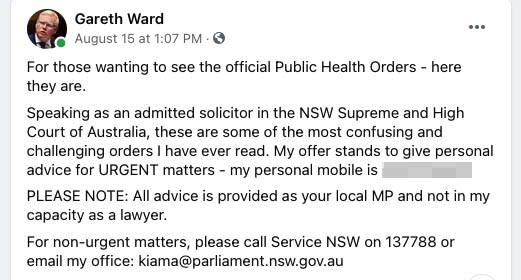 A screenshot of a post from Kiama MP Gareth Ward, who has been inundated with bizarre text messages after giving out his number on Facebook to answer Covid questions. Source: Facebook/Gareth Ward