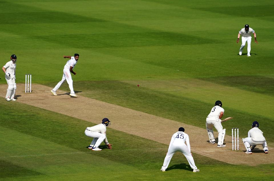 India's Ravichandran Ashwin bowling to New Zealand's Ross Taylor during day six of the ICC World Test Championship Final match at The Ageas Bowl, Southampton. Picture date: Wednesday June 23, 2021. (Photo by Adam Davy/PA Images via Getty Images)