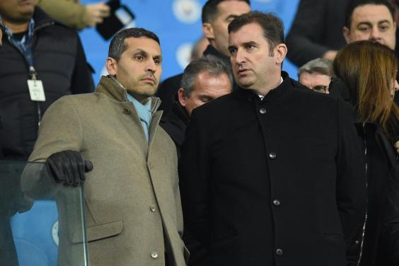 Manchester City chairman Khaldoon al-Mubarak with chief executive Ferran Soriano (AFP/Getty)