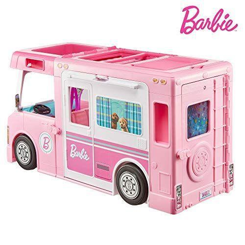 "<p><strong>Barbie</strong></p><p>amazon.com</p><p><strong>$79.00</strong></p><p><a href=""https://www.amazon.com/dp/B07XC3HK9N?tag=syn-yahoo-20&ascsubtag=%5Bartid%7C10055.g.28195971%5Bsrc%7Cyahoo-us"" rel=""nofollow noopener"" target=""_blank"" data-ylk=""slk:Shop Now"" class=""link rapid-noclick-resp"">Shop Now</a></p><p>Camping-themed toys are a huge trend this year, and <strong>this Barbie camper is like three toys in one</strong>. It opens and unhitches to form a boat and a pickup truck, and the camper itself has a living room, pool, bathroom with a pop-up shower, rooftop bedroom and a kitchen — lots of areas to spark imaginative play. <em>Ages 3+</em></p>"