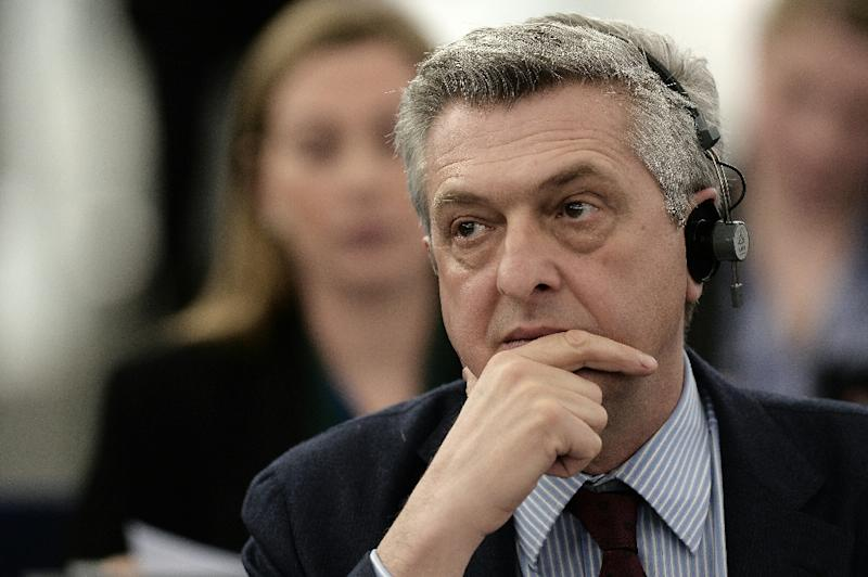 UN High Commissioner for Refugees Filippo Grandi attends a debate on asylum procedures in Strasbourg, France on March 8, 2016 (AFP Photo/Frederick Florin)