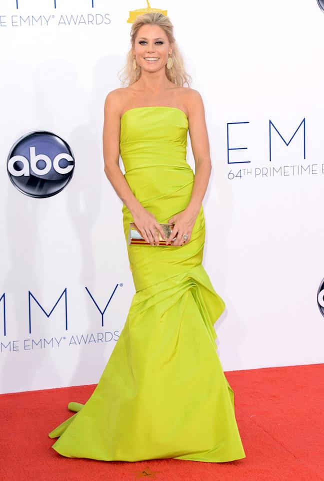 Julie Bowen arrives at the 64th Primetime Emmy Awards at the Nokia Theatre in Los Angeles on September 23, 2012.