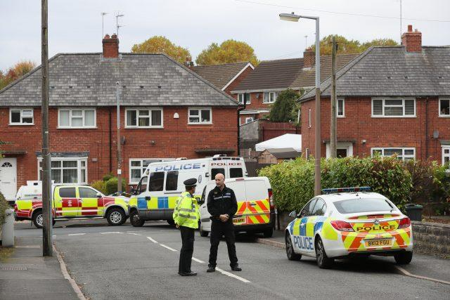 Police at the scene in Holland Road, Hamstead, Birmingham