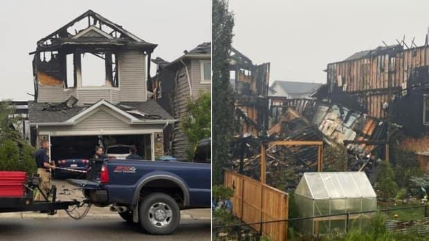Several homes in Sherwood Crescent were damaged early Sunday morning from a house fire. The cause of the fire is under investigation. (Submitted by Dilyar Askar - image credit)