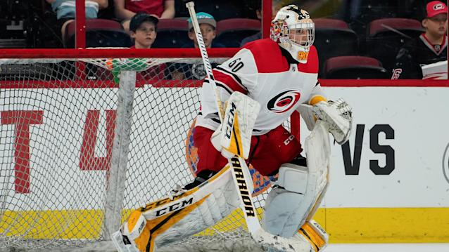 Carolina Hurricanes prospect Jeremy Helvig was detained on suspicion of battery. (Greg Thompson/Icon Sportswire via Getty Images)