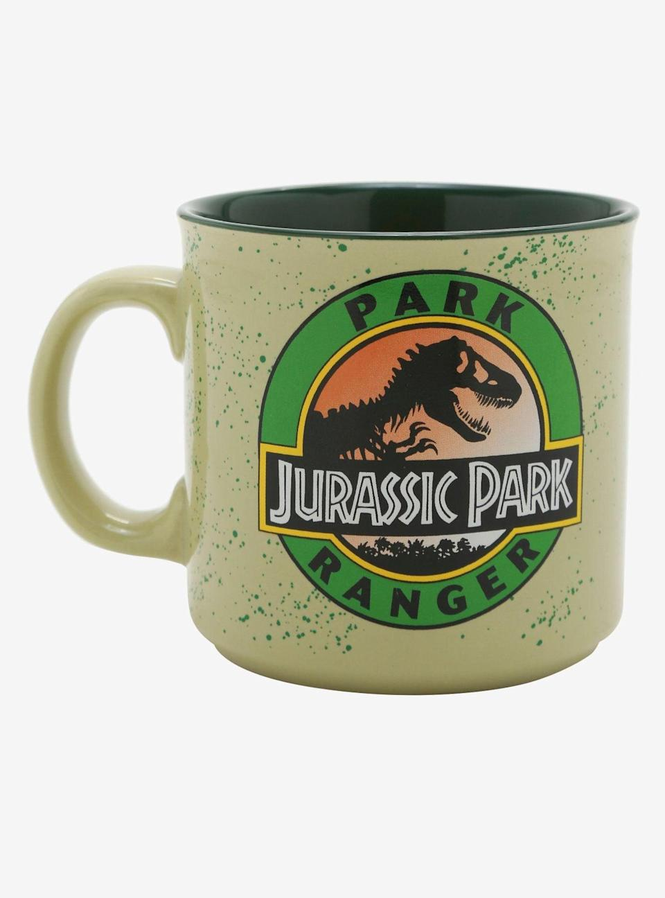 <p>Start your morning on the wild side with this <span>Jurassic Park Park Ranger Mug</span> ($15). </p>