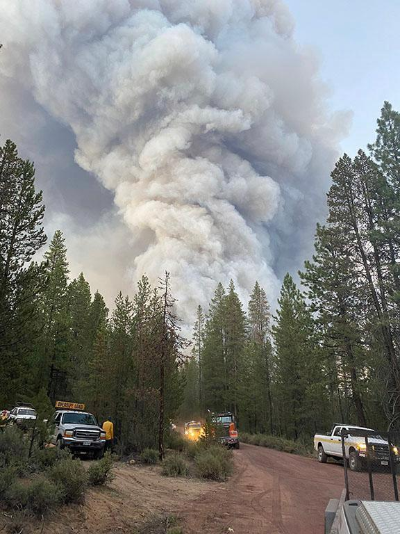 A column of smoke rises from the Bootleg Fire near Bly, Ore., on July 7, 2021. (U.S. Forest Service via The New York Times)