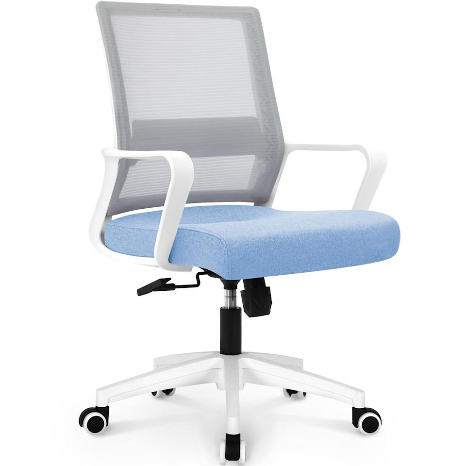 """<h2>NEO CHAIR Office Swivel Desk Ergonomic Chair</h2><br>This simple swivel seat is perfect for blending into home offices or bedrooms without overpowering your space. It's an inexpensive budget buy, but fortunately, it's so comfy you'd never even know.<br><br><strong>The Hype</strong>: 4.4 out of 5 stars and 3,308 ratings<br><br><strong>WFH Pros say</strong>: """"I ordered this chair after searching for a budget-friendly, aesthetically pleasing, and supportive desk chair. This chair appears to be made from quality materials and while it does have a plastic base, it doesn't feel cheap. The seat is firm and comfortable. I put this chair together by myself in around 20 minutes.""""<br><br><em>Shop <strong><a href=""""https://amzn.to/3CjqaFa"""" rel=""""nofollow noopener"""" target=""""_blank"""" data-ylk=""""slk:NEO CHAIR"""" class=""""link rapid-noclick-resp"""">NEO CHAIR</a></strong></em><br><br><strong>NEO CHAIR</strong> Office Swivel Desk Ergonomic Chair, $, available at <a href=""""https://amzn.to/3iqcAYE"""" rel=""""nofollow noopener"""" target=""""_blank"""" data-ylk=""""slk:Amazon"""" class=""""link rapid-noclick-resp"""">Amazon</a>"""