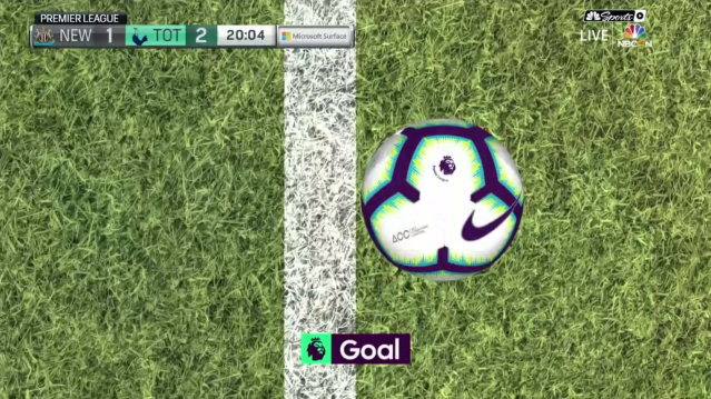 The goal-line technology view of Jan Vertonghen's goal for Tottenham against Newcastle. (Screenshot: NBC Sports Live Extra)