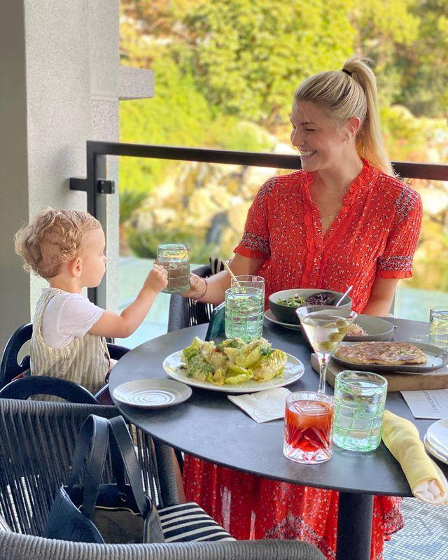 """<p>""""This restaurant, the view, my date are hard to beat!"""" the star captioned this adorable vacation photo from the pair's stay at the Four Seasons Hotel Westlake Village.</p>"""