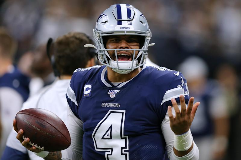NEW ORLEANS, LOUISIANA - SEPTEMBER 29: Dak Prescott #4 of the Dallas Cowboys reacts during the first half of a game against the New Orleans Saints at the Mercedes Benz Superdome on September 29, 2019 in New Orleans, Louisiana. (Photo by Jonathan Bachman/Getty Images)