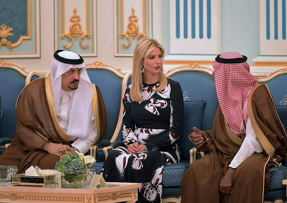 Ivanka Trump is seen at the ceremony where her father received the Order of Abdul-Aziz Al Saud medal at the Saudi Royal Court on May 20, 2017.