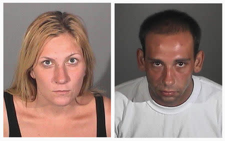 Combo of police booking photos of burglary suspects Andrea Miller and Gus Adams