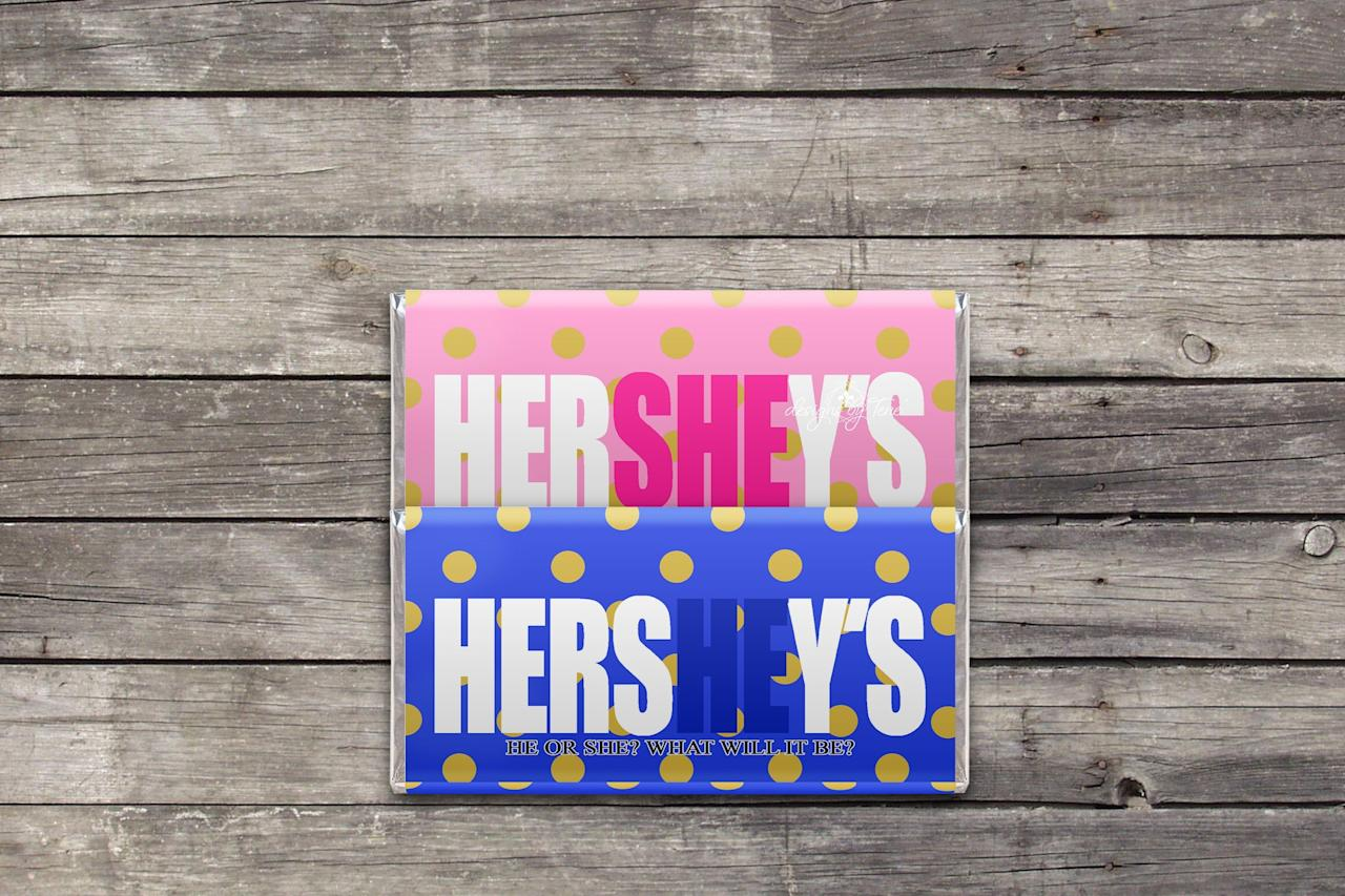 """<p><strong>DesignsbyTene</strong></p><p>etsy.com</p><p><strong>$3.99</strong></p><p><a href=""""https://go.redirectingat.com?id=74968X1596630&url=https%3A%2F%2Fwww.etsy.com%2Flisting%2F702991584%2Fgender-reveal-hershey-bar-wrapper&sref=http%3A%2F%2Fwww.goodhousekeeping.com%2Flife%2Fparenting%2Fg28564283%2Funique-gender-reveal-ideas%2F"""" target=""""_blank"""">Shop Now</a></p><p>Will it be a HersHEy, or a HerSHEy? Either way, the results are pretty sweet once you download and print these custom chocolate-bar wrappers. </p><p><strong>RELATED:</strong> <a href=""""https://www.goodhousekeeping.com/life/parenting/g25336854/most-popular-baby-names-2019/"""" target=""""_blank"""">These Will Be the Most Popular Baby Names in 2019</a></p>"""