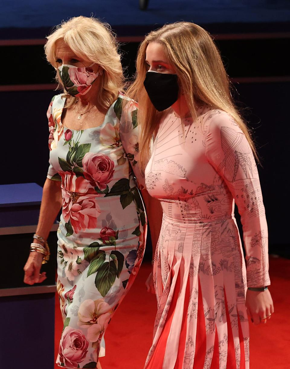 """<p>Dr. Biden coordinated her <a href=""""https://www.popsugar.com/fashion/jill-biden-floral-face-mask-dress-debate-47911366"""" class=""""link rapid-noclick-resp"""" rel=""""nofollow noopener"""" target=""""_blank"""" data-ylk=""""slk:floral face mask with a Dolce &amp; Gabbana sheath dress"""">floral face mask with a Dolce &amp; Gabbana sheath dress</a> for the final presidential debate in late October. The matchy-matchy statement drove the point home that going the extra mile to incorporate your mask into your outfit is essential - and it can also be uplifting as you save lives.</p>"""
