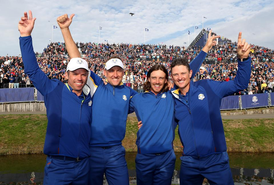 Ryder Cup team-mates Paul Casey (left) and Tommy Fleetwood (second right) will represent Team GB in Tokyo (David Davies/PA) (PA Archive)