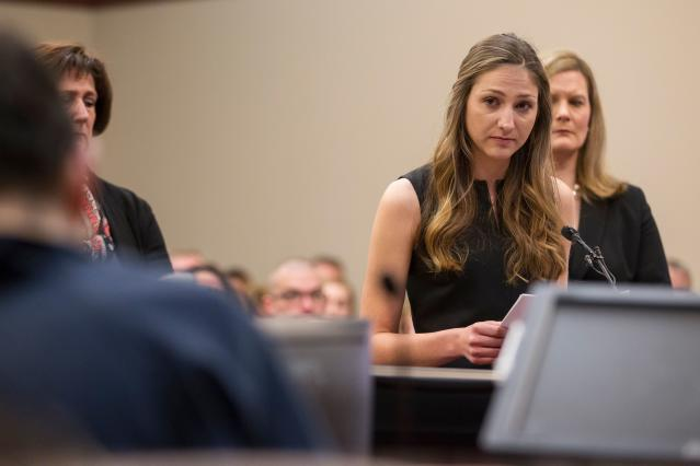 Kyle Stephens, one of Larry Nassar's victims, addressed her abuser in court. (Photo: Getty Images)