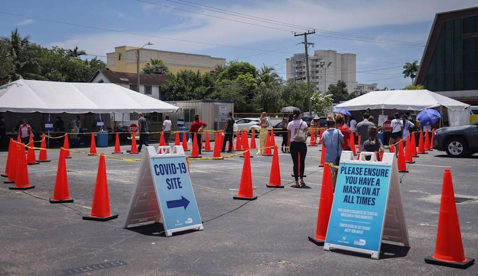 Miami residents line up for COVID-19 testing on Thursday, July 22, at Salvation Army near Miami's Little Havana neighborhood.