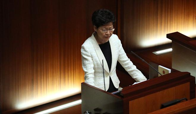 Chief Executive Carrie Lam Cheng Yuet-ngor attends the Chief Executive's Question and Answer session at the Legislative Council Complex in Admiralty on Thursday, a day after the 2019 policy address was delivered. Photo: Nora Tam