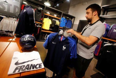 France team soccer jerseys are displayed in a Nike sporting goods store in Marseille, France, June 8, 2018. REUTERS/Jean-Paul Pelissier