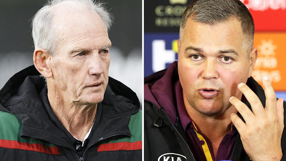 A 50-50 split image shows South Sydney Rabbitohs coach Wayne Bennett on the left and former Brisbane Broncos coach Anthony Seibold on the right.
