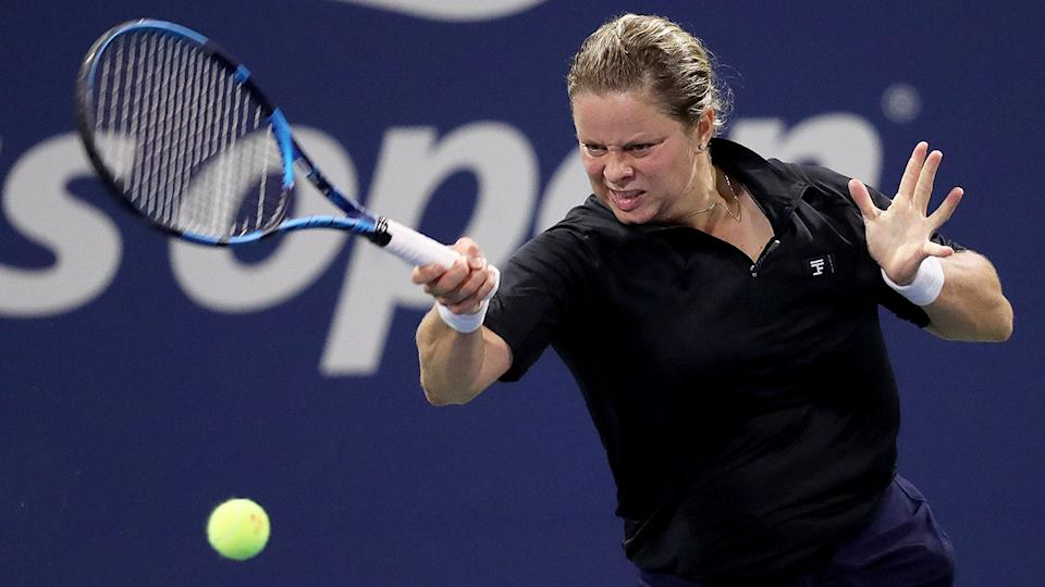 Kim Clijsters is seen here hitting a forehand in her opening round loss at the US Open.