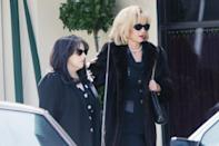 <p>Beanie Feldstein and Mira Sorvino are unrecognizable dressed as Monica Lewinsky and her mother Marcia Lewis while filming <i>American Crime Story: Impeachment </i>in L.A. on Tuesday. </p>