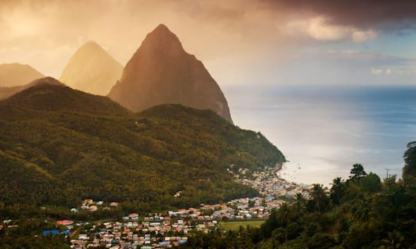 The Pitons, above the town of Soufriere, St Lucia, Windward Islands, Caribbean.