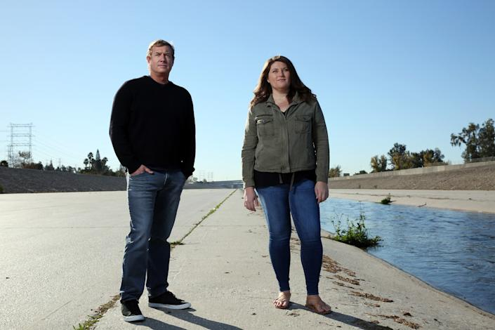 Hydrologist Mark Hanna and landscape architect Jessica Henson at the L.A. River's confluence with the Rio Hondo in South Gate