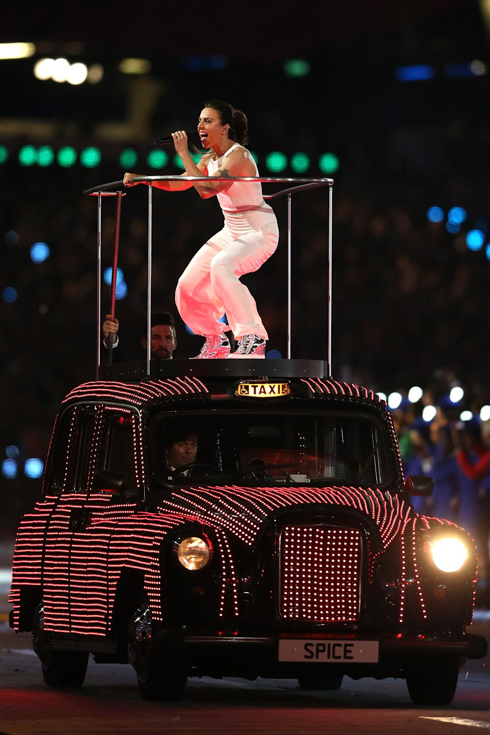 NOW: Melanie Chisholm of Spice Girls performs during the Closing Ceremony on Day 16 of the London 2012 Olympic Games at Olympic Stadium on August 12, 2012 in London, England. (Photo by Scott Heavey/Getty Images)