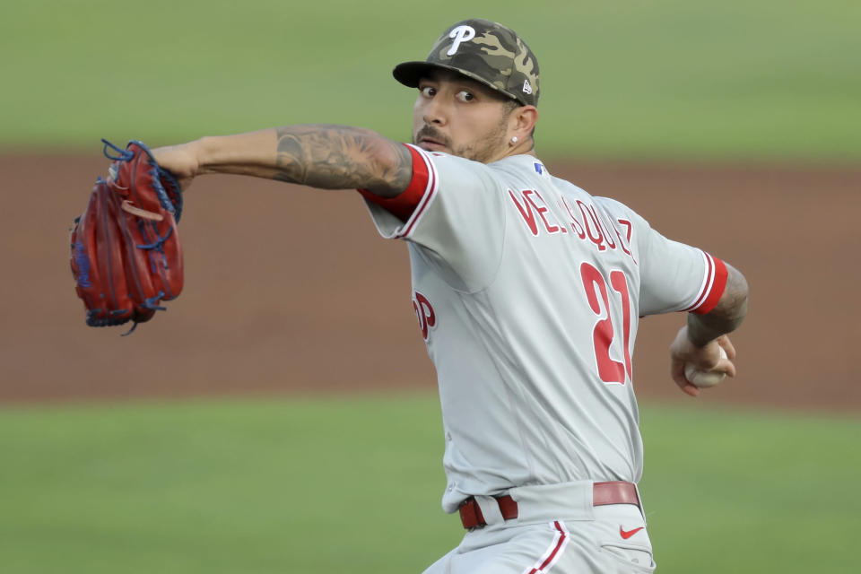 Philadelphia Phillies starting pitcher Vince Velasquez winds up during the first inning of the team's baseball game against the Toronto Blue Jays on Friday, May 14, 2021, in Dunedin, Fla. (AP Photo/Mike Carlson)