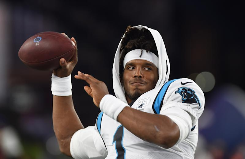 Aug 22, 2019; Foxborough, MA, USA; Carolina Panthers quarterback Cam Newton (1) warms up prior to the start of a game against the New England Patriots at Gillette Stadium. Mandatory Credit: Bob DeChiara-USA TODAY Sports